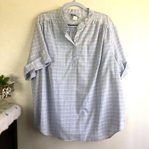 Seersucker plaid tunic blouse